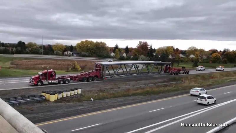 truck moving the Jackie Holzman bridge
