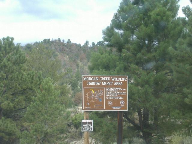 Morgan Creek Wildlife Habitat Management Sign just south of road summit.