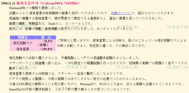 Katsuya's cpu frequency overclocking blog entry on November 21, 1998