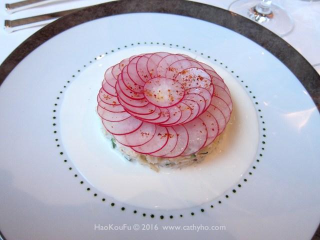 蟹肉茴香沙拉塔,佐檸檬奶油醬汁 (Rémoulade de Tourteau à l'Aneth, Sauce Fleurette Citronnée)