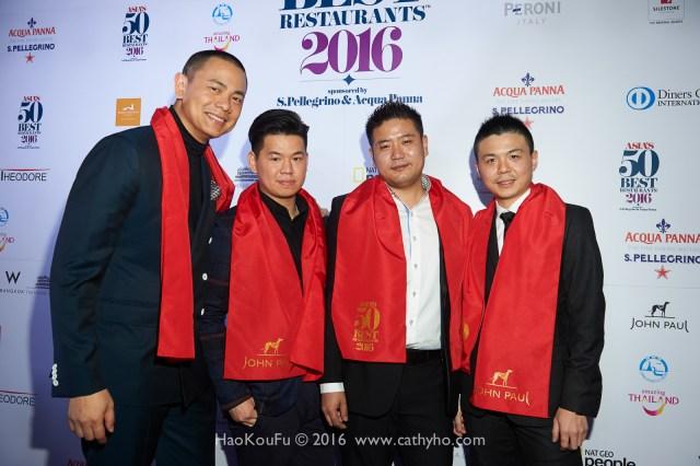 新加坡André和台灣RAW的團隊從左至右分別是:主廚江振誠、Zor Tan、Johnny Jiang、Alain Huang