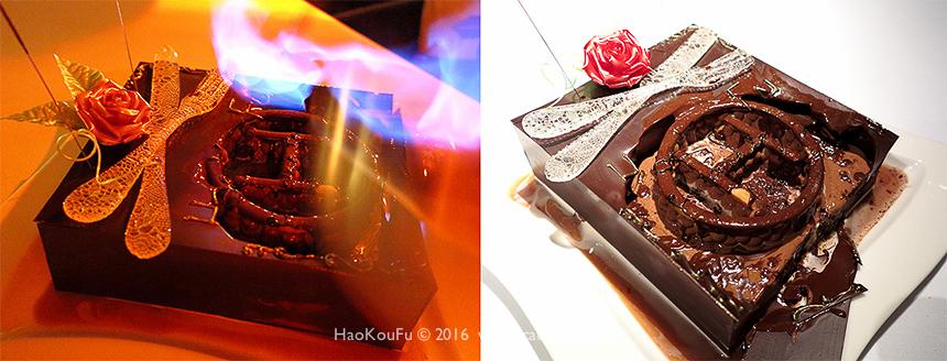 蛋糕表面隨著仙女棒所產生的煙花熱度而逐漸融化,裡面竟然出現了我好口福網站的Logo