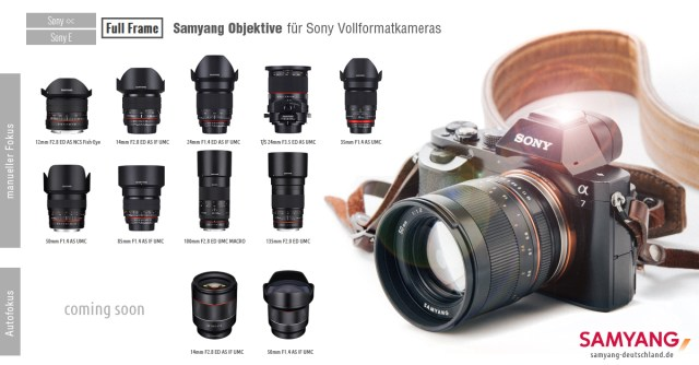 Samyang Objektive für Sony Vollformat mit A Mount & E-Mount