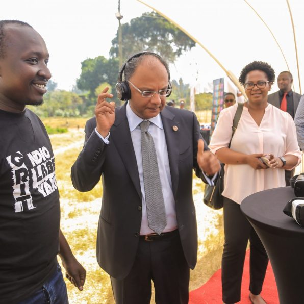 YSK Chairman and PS. Kevit Desai enjoys a silent disco moment at the Blaze Pod during the official launch of YSK boot camp at Moi Girls.
