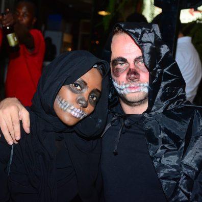 (L-R) Deya Yeyigi and Shivani Einola during the Halloween Masquerade party at J's Westlands.