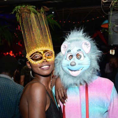 (L-R) Sally Okongo and Edwin Gachaga during the Halloween Masquerade party at J's Westlands.