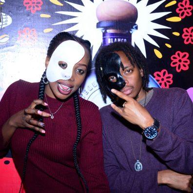 (L-R) Tina Mburu and Partick Kosgei during the Halloween Masquerade party at J's Westlands.