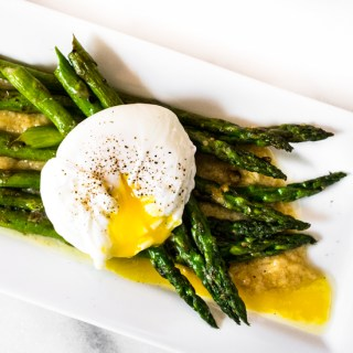Asparagus with a Poached Egg and Roasted Garlic Miso Butter