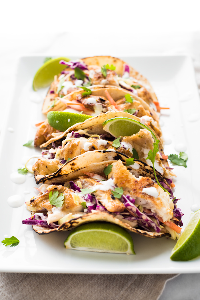 Fish tacos with sriracha aioli slaw for Fish burrito recipe