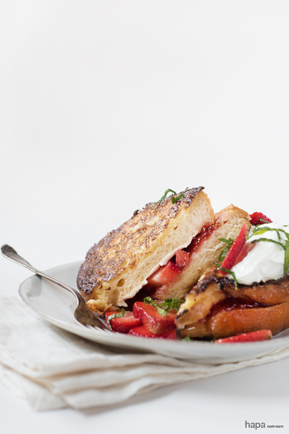 Strawberry French Toast - Filled with Strawberry Preserves, Cream Cheese, and topped with Sour Cream and Mint