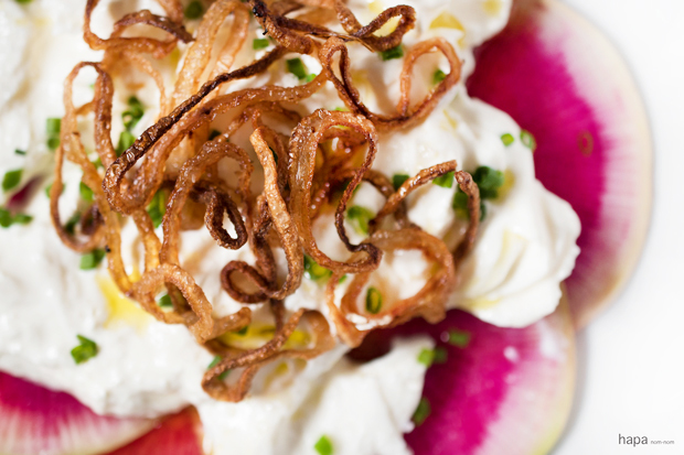 Watermelon Radish with Burrata and Crispy Shallots