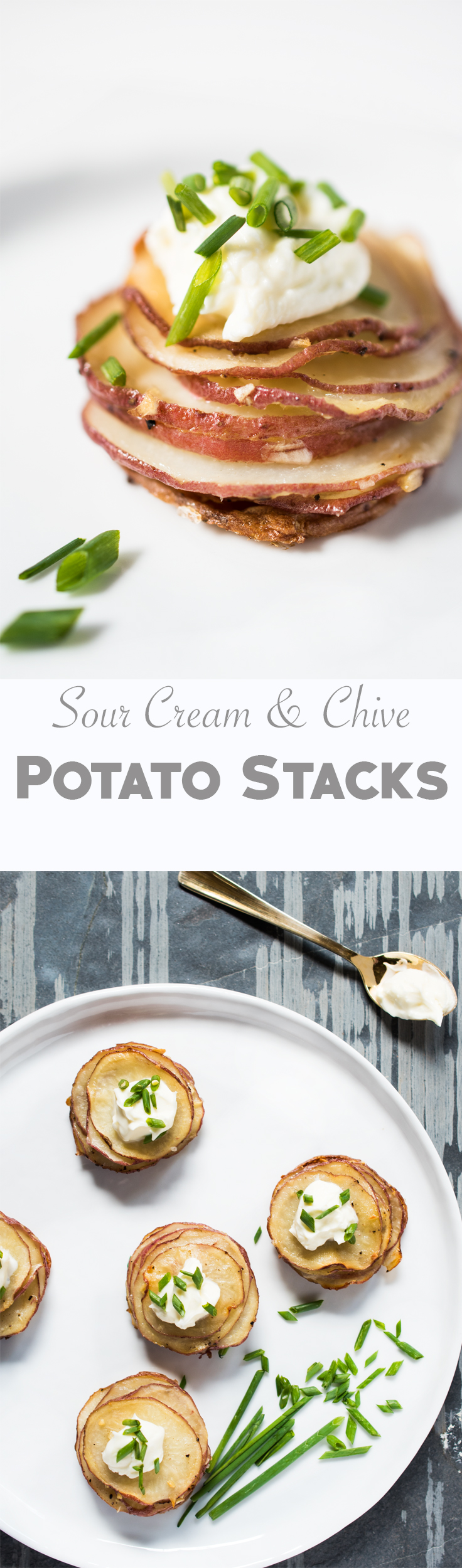 These Sour Cream and Chive Potato Stacks make an elegant presentation but they're so easy to prepare.