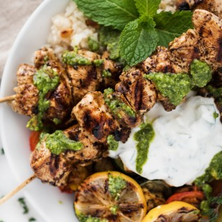 Chicken Souvlaki with Lemon Scented Rice & Roasted Veggies