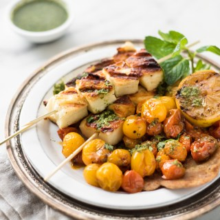 Halloumi Skewers with Roasted Tomatoes and Green Chutney
