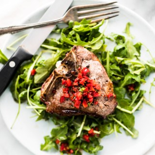 Loin Lamb Chop with a Honey Pepper Sauce and an Arugula Salad