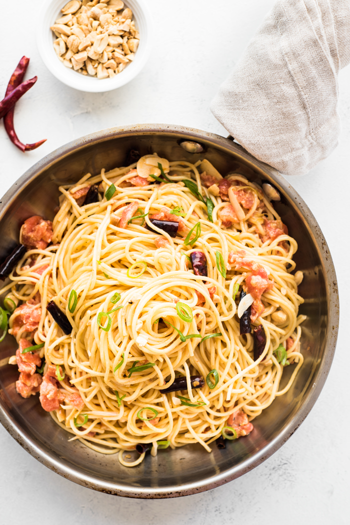 Kung Pao Spaghetti alla Vodka - a Sichuan-style pasta with vodka sauce. You may be familiar with California Pizza Kitchen's uber popular Kung Pao Spaghetti. Think of that spicy kung pao taste with a rich and creamy vodka sauce. It's a dish that will have you going back for extra helpings!