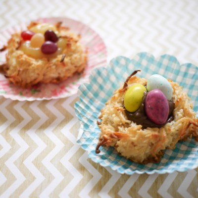 Spring Coconut Macaroon Nests