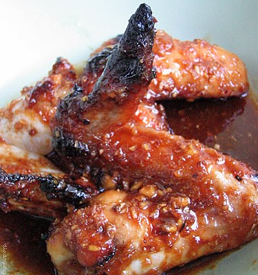 Peach-Lacquered Chicken Wings
