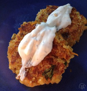 Sweet Potato Quinoa Cakes with Tzatziki