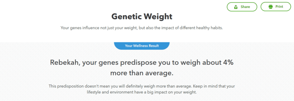 Example: 23andMe Genetic Weight report