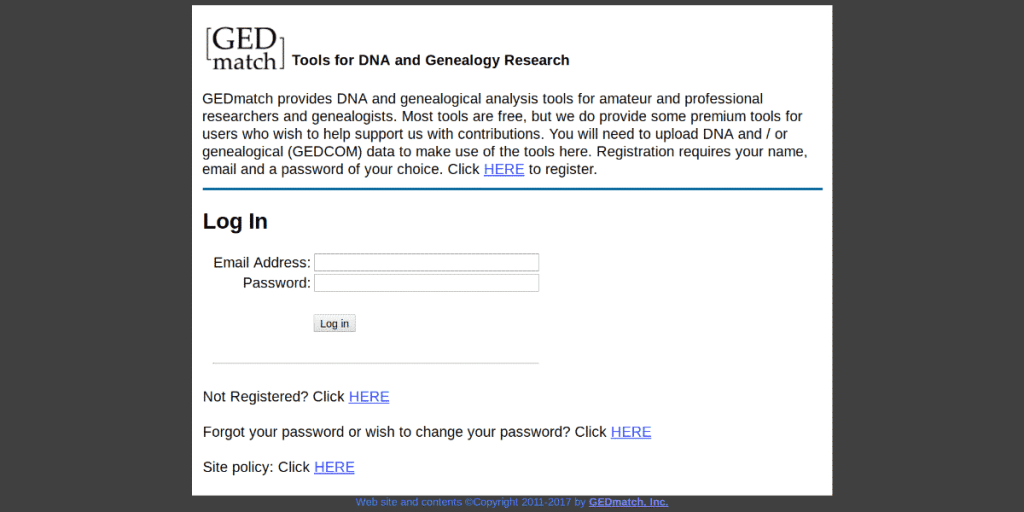 The GEDMatch website