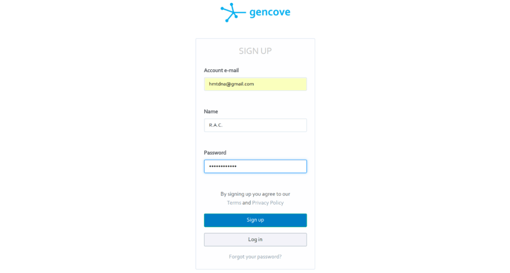 The Gencove sign up page.