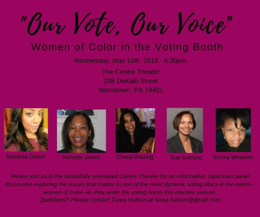 """Our Vote, Our Voice"" Woman of Color led discussion forum to be held in Norristown on May 15th"
