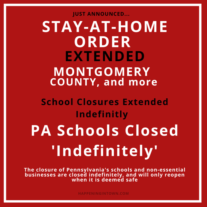 Stay At Home order Extended and PA Schools Closed Indefinitely says Governor Wolf