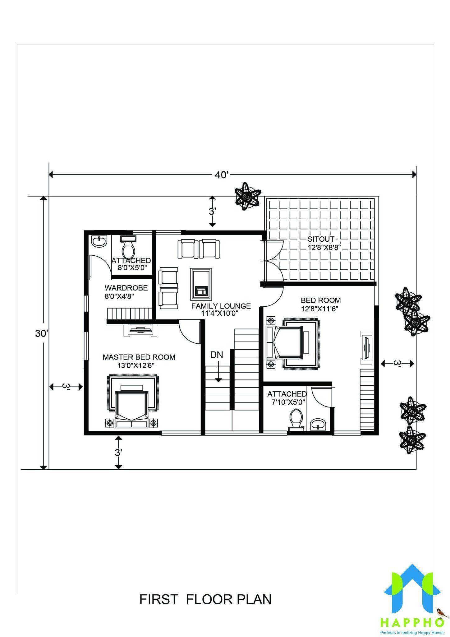 1-BHK Floor Plan for 20 x 40 Feet plot (800 Square Feet)