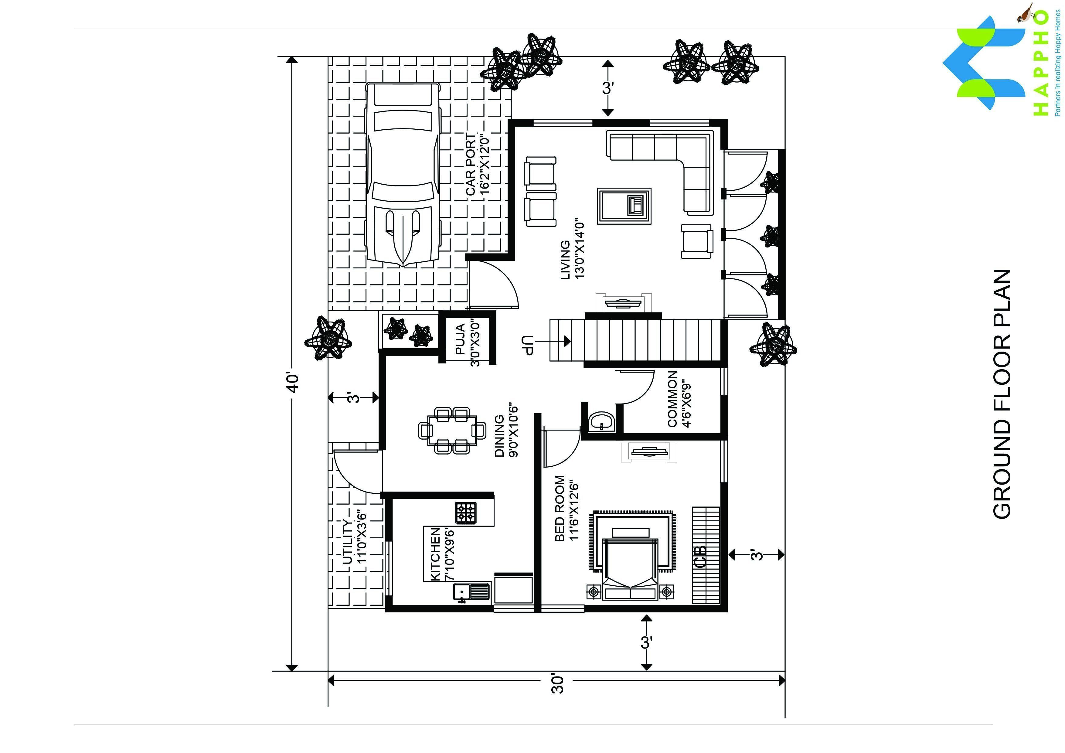Floor Plan For 1200 Sqft Plot