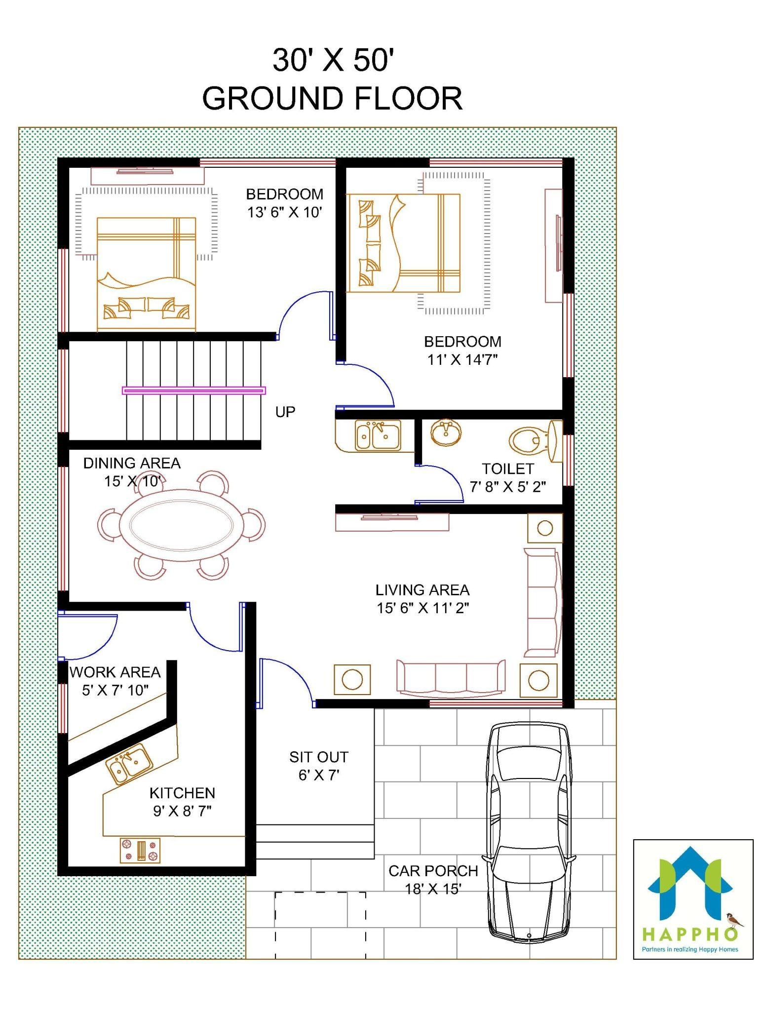 Floor Plan For 30 X 50 Feet Plot 4 BHK1500 Square Feet166 Sq Yards Ghar 035 Happho