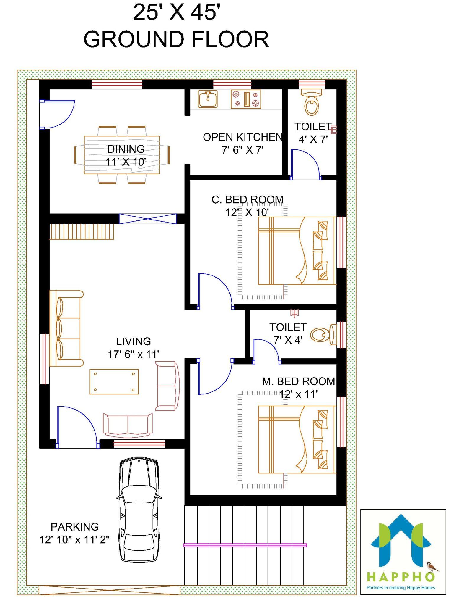 Floor Plan For 25 X 45 Feet Plot 2 BHK 1125 Square Feet