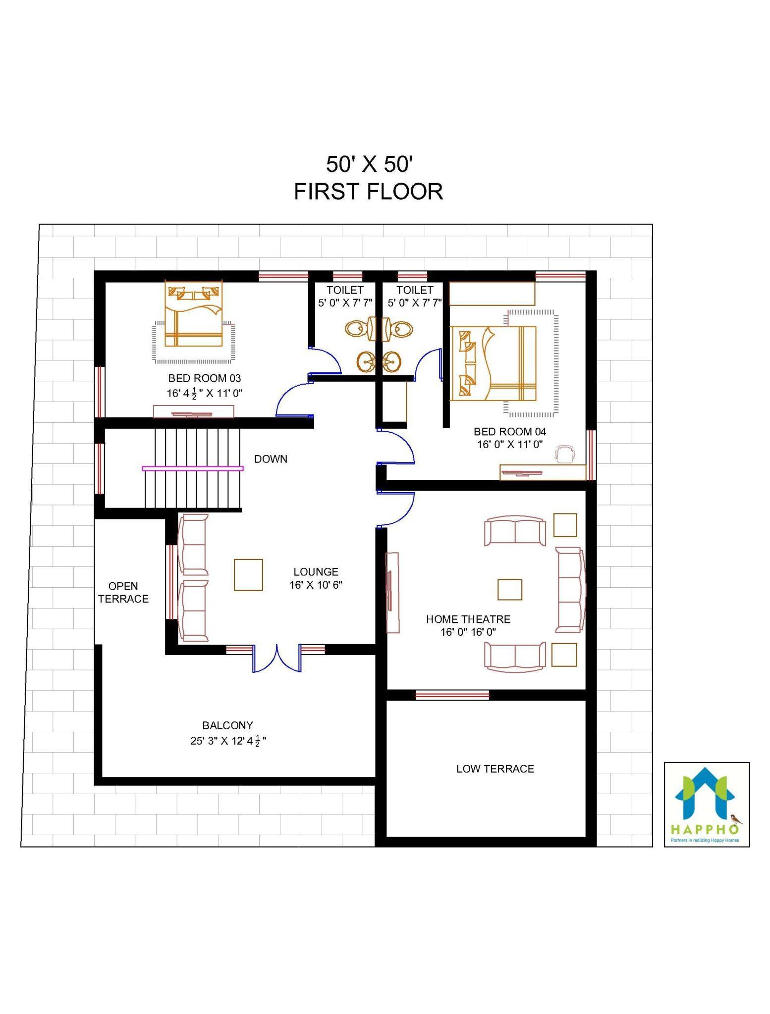 Floor Plan For 50 X 50 Plot