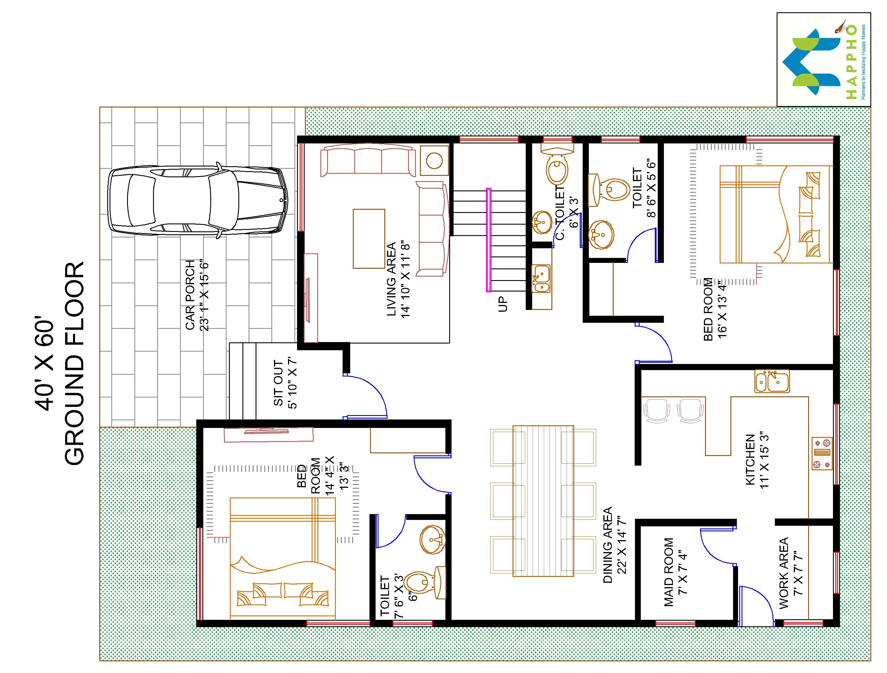 4BHK Floor Plan for 40 X 60 Plot 2400 Square Feet267 SquareYards  Happho