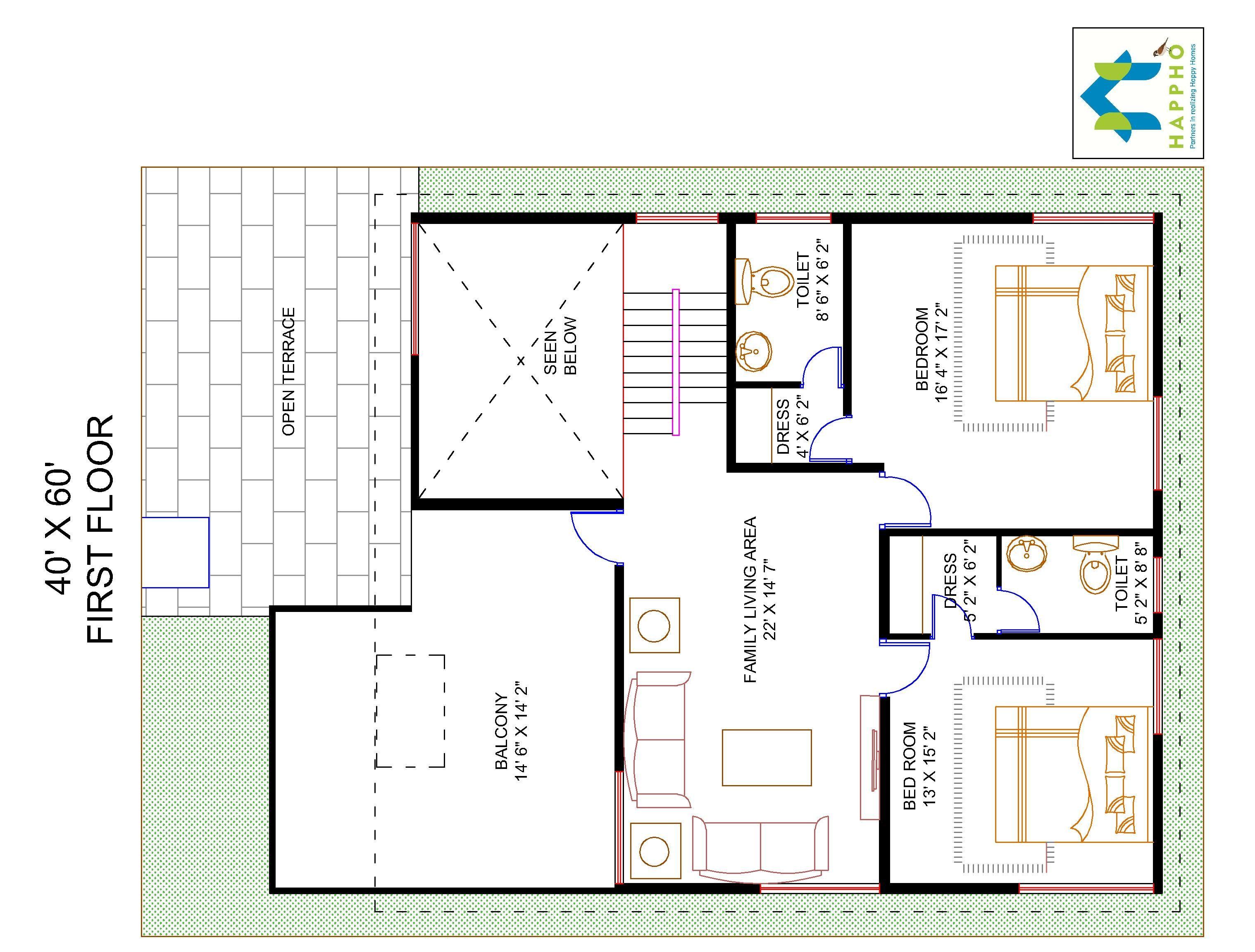 4-BHK Floor Plan For 40 X 60 Plot (2400 Square Feet/267