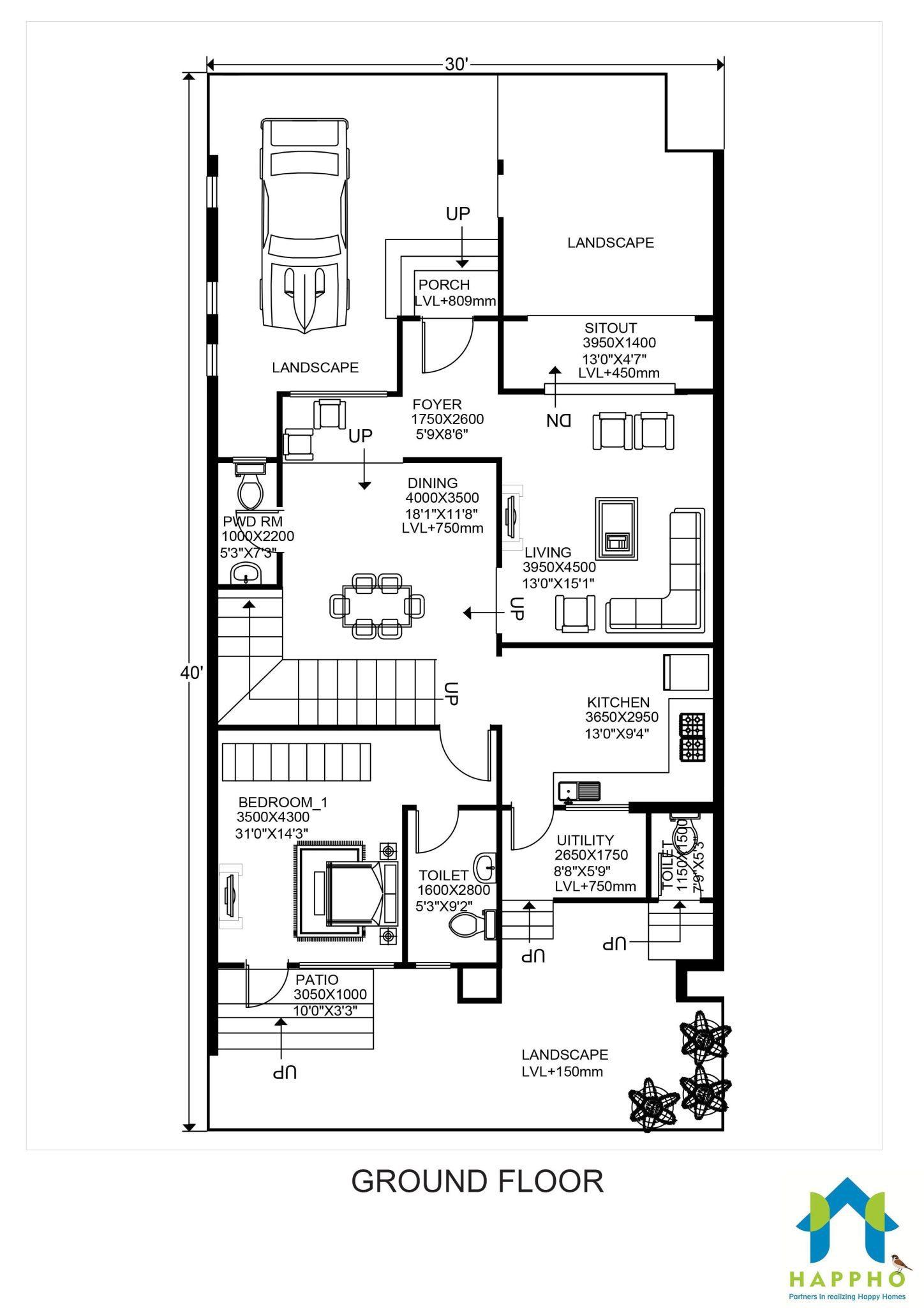 hight resolution of floor plan for 30 x 40 feet plot 3 bhk 1200 square feet 134 sq