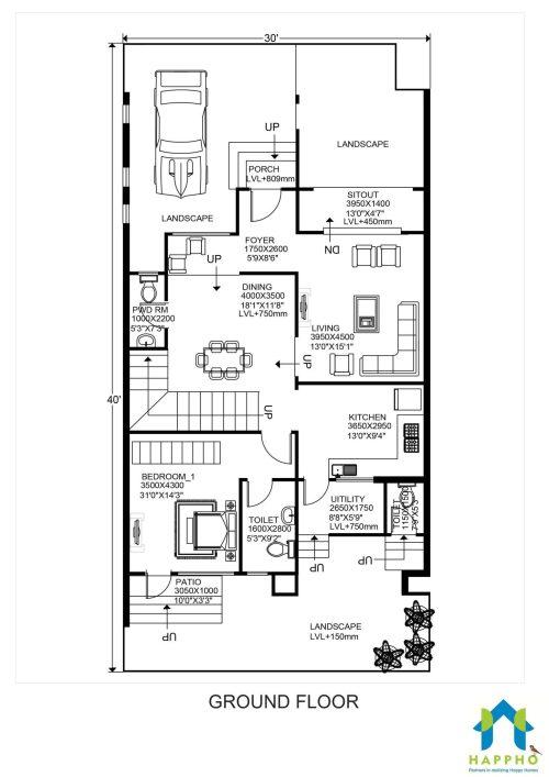 small resolution of floor plan for 30 x 40 feet plot 3 bhk 1200 square feet 134 sq