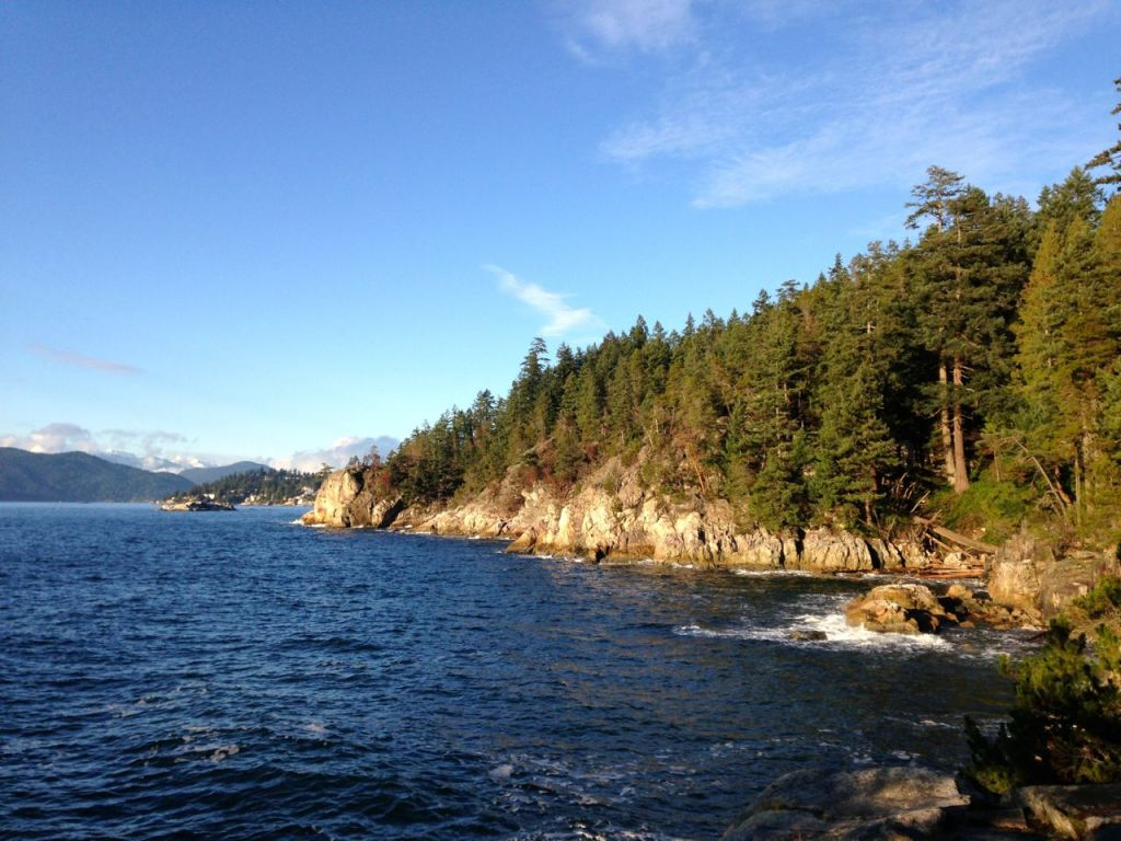 The view from Shore Pine Point in Lighthouse Park in West Vancouver. You can get to this Vancouver hike on transit.
