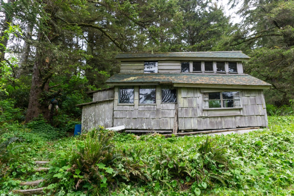 The old cabin on the Wild Side Trail near Tofino, BC