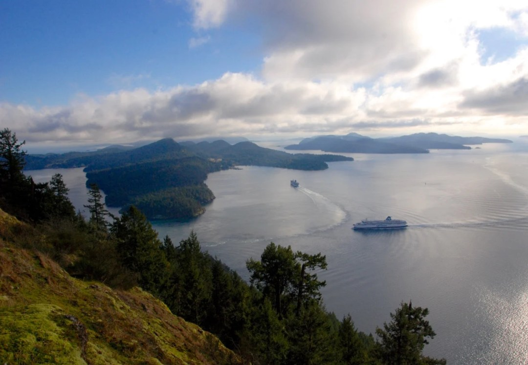 Ferries in Active Pass from the top of Mount Galiano