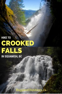 Hike to Crooked Falls in Squamish, British Columbia. Get off the beaten path with this locals hike. Hike to a secret waterfall near Squamish, BC. A waterfall hike in the Sea to Sky region near Vancouver.