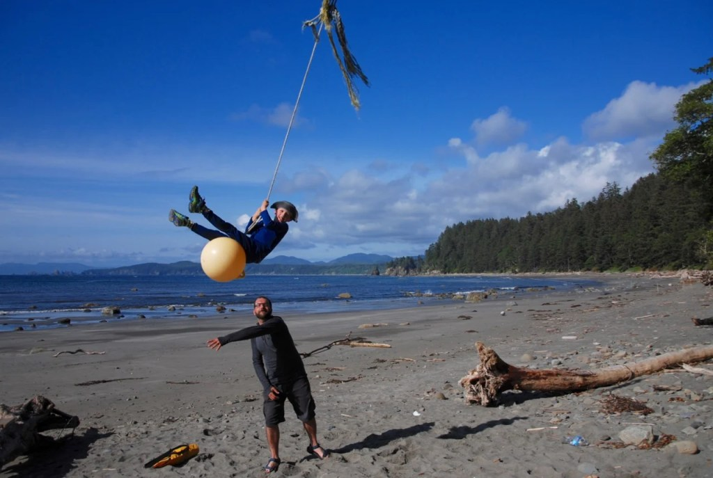 Rope swing on the Ozette Loop