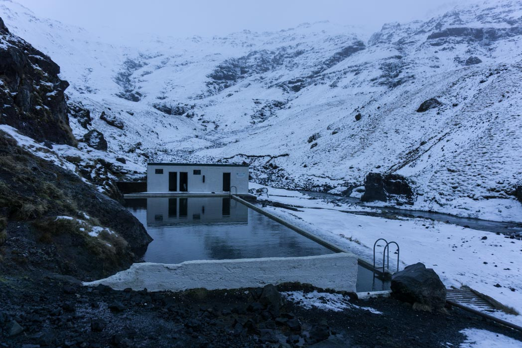 Thermal swimming pool Seljavallalaug in winter in Iceland: 7 Things You Might Not Know About Winter in Iceland