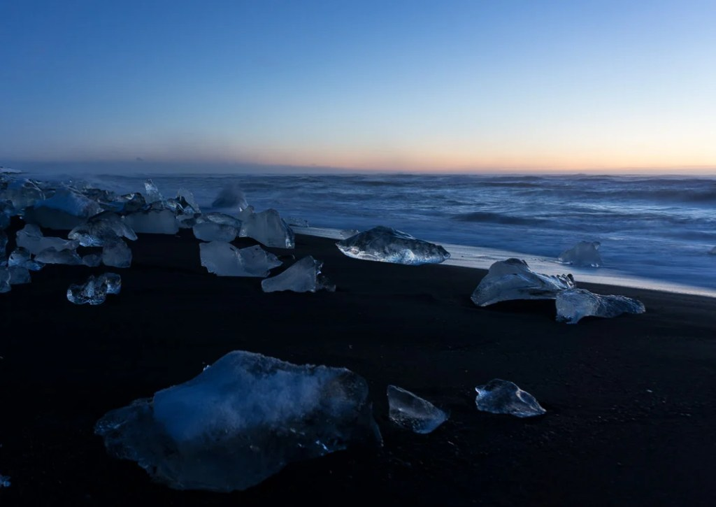 Icebergs at Diamond beach at dawn. A winter week in Iceland. Iceland in January. 35 Photos that will make you want to go to Iceland in winter.