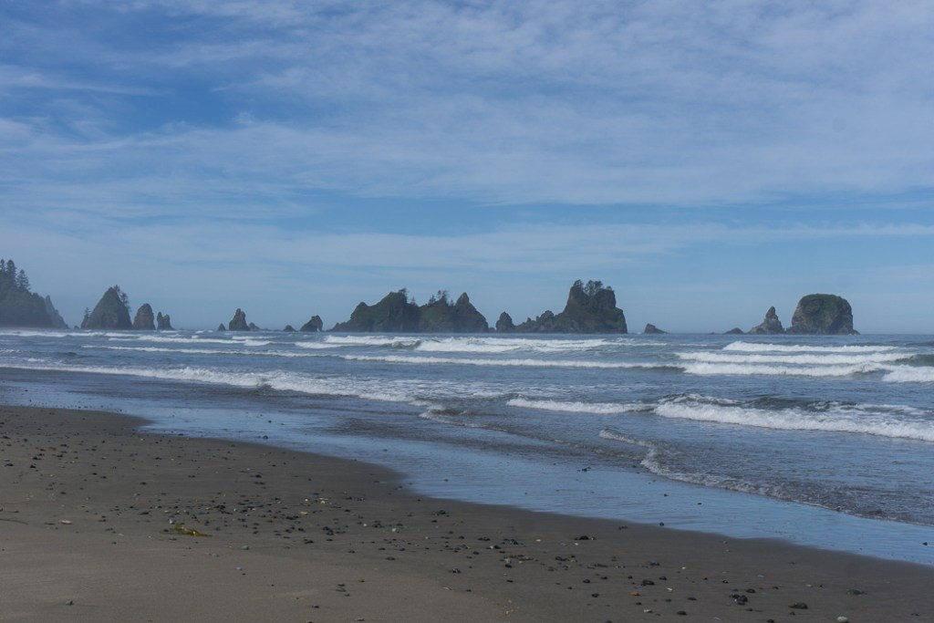 The view of Point of the Arches from Shi Shi Beach. A complete guide to hiking and camping at Shi Shi Beach.