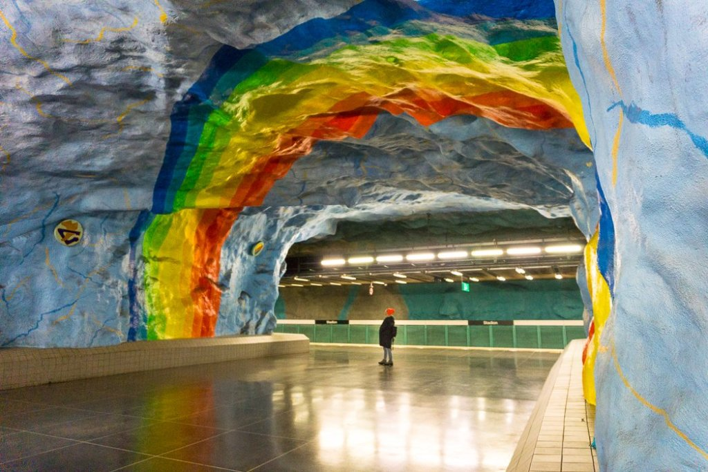 Stadion station in Stockholm's Tunnelbana subway system. 30 photos of Stockholm that will inspire you to visit.