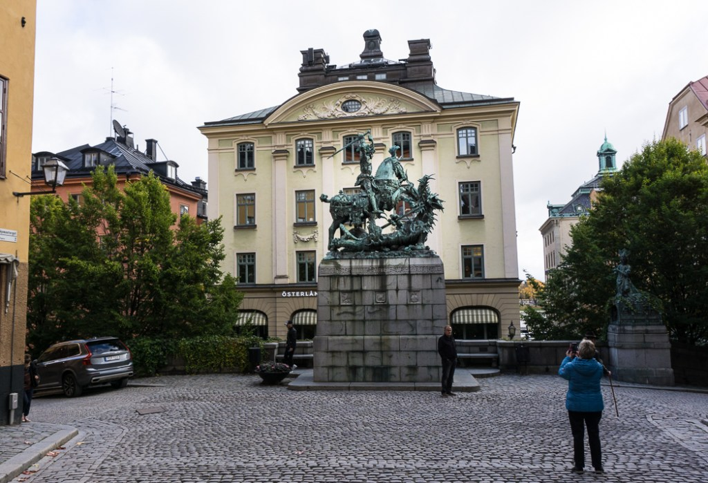 Statue of Saint George and the Dragon. Visit it on the Ultimate Self-Guided Walking Tour of Stockholm.