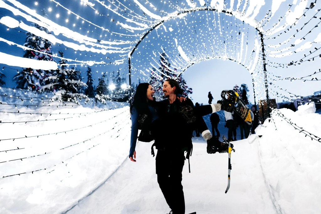 The light walk at Grouse Mountain in Vancouver is a great place to go snowshoeing