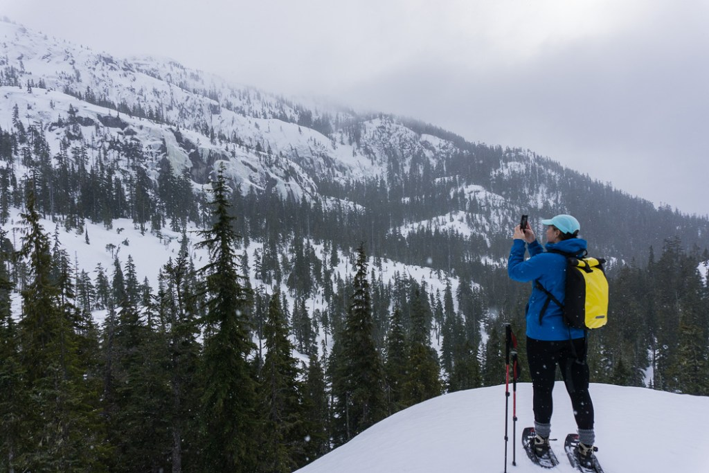 Snowshoeing at the Al's Habrich Ridge trail at the Sea to Sky Gondola in Squamish, BC, Canada
