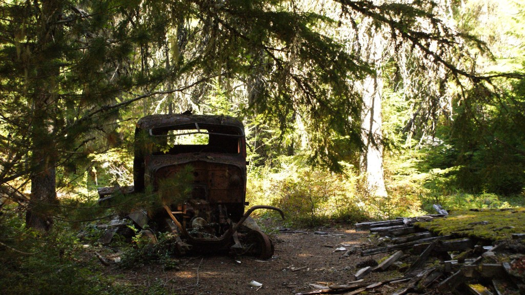 An abandoned vehicle at Parkhurst Ghost Town near Whistler. Just one of 15 unusual hikes near Vancouver.